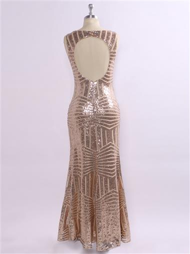 Sleeveless open-back sequin sparkle evening dress