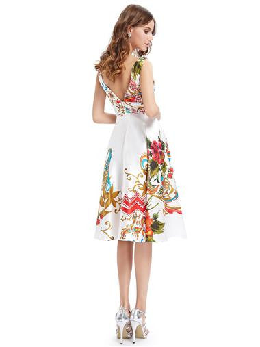 Double V-neck Empire Line Floral Printed Satin Summer Dress