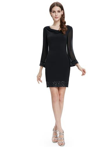 Black Long Sleeve Scoop Cocktail Dress