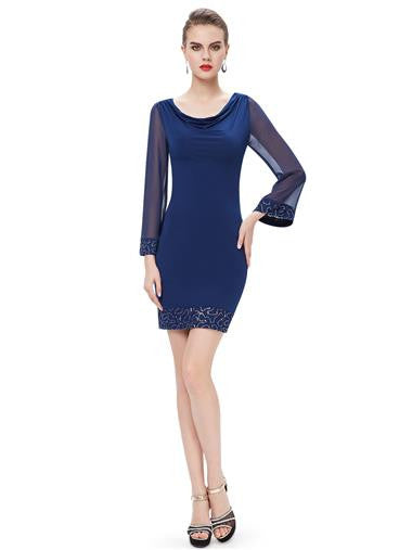 Blue Long Sleeve Scoop Cocktail Dress