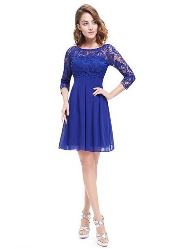 Cute 3/4 Sleeve Short Blue Cocktail Dress with Lace detailing