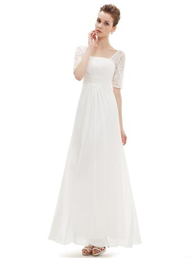 Fashionable Wedding Lace Square Neckline Dress
