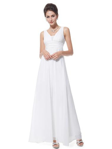 Elegant White V-neck Evening/Wedding Dress