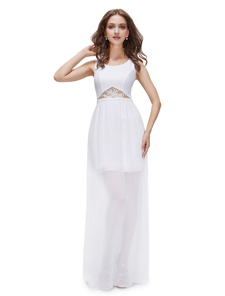 Elegant Empire Waist Semi-Sheer White Long Party Dress
