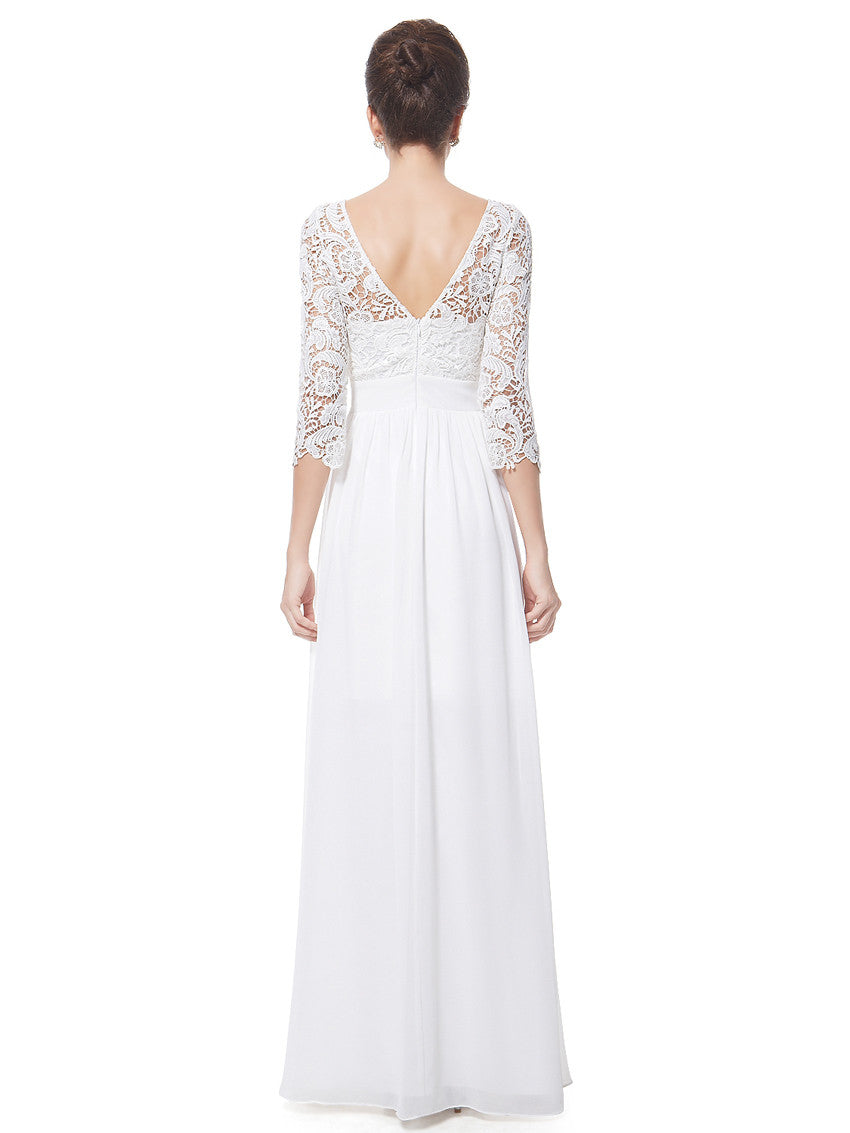 Elegant White 3/4 Laced Sleeve Wedding dress with open V-line back detail