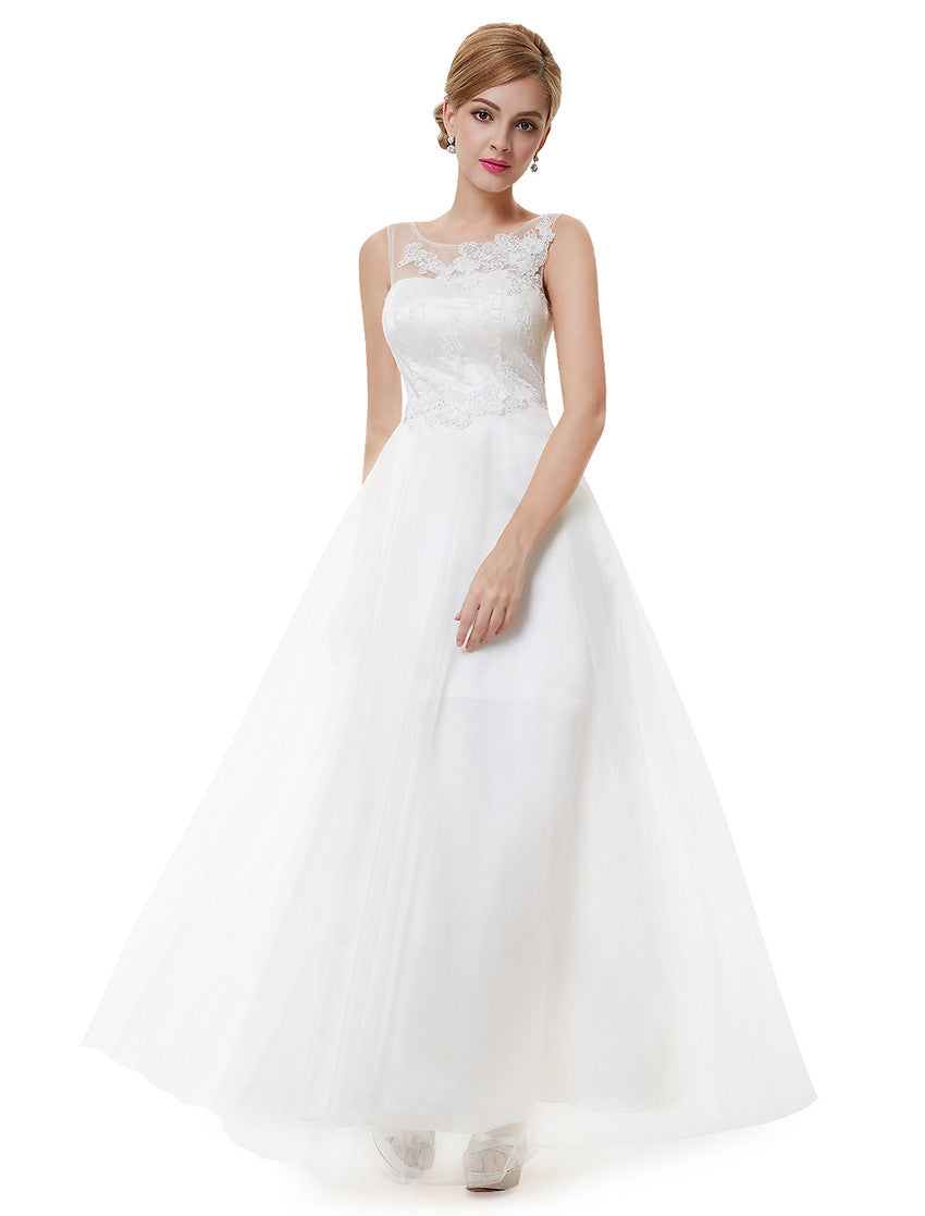Elegant White Lucency Sleeveless Long Wedding Dress