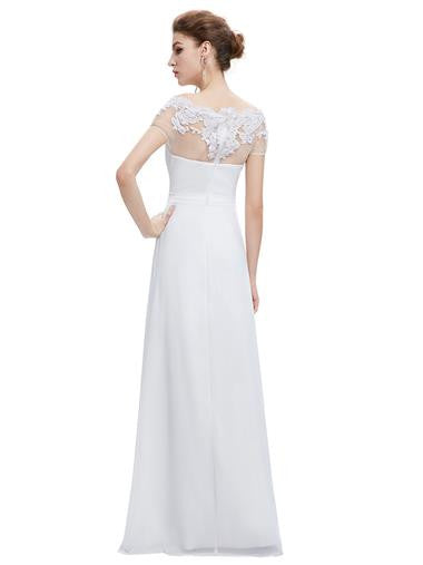 Boat Neck Wedding Dress with Lace