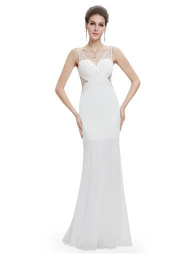Fashionable white evening dress