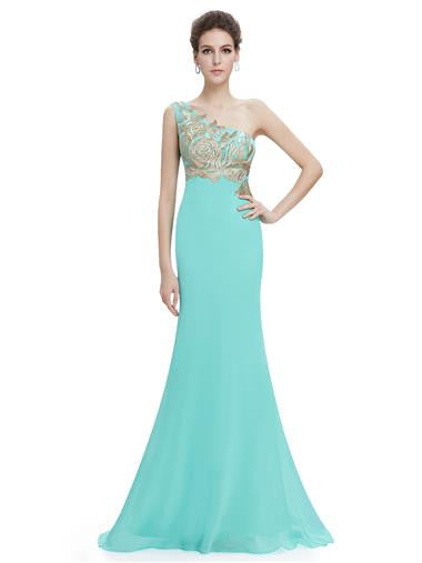 Long Turquoise One shoulder Evening Dress