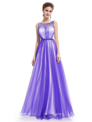 Elegant Maxi Purple Chiffon Evening Dress