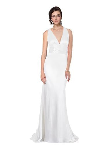 Elegant White Sexy V-neck Evening Dress