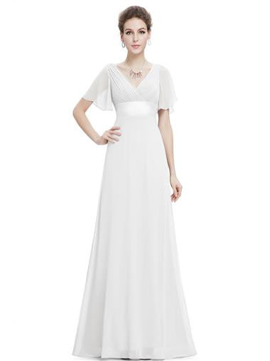 Beautiful White Double V-Neck Wedding Dress