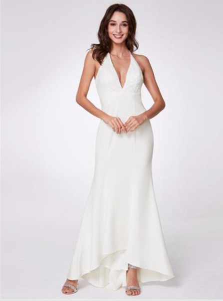 Elegant Deep V-neck Halter White Dress