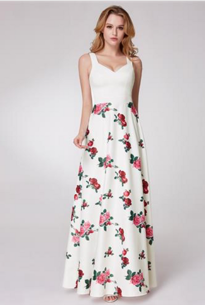 62a39732b24e Sweetheart A-line Floral Printed Formal Dress