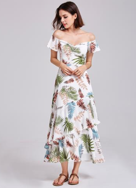 Beautiful A-Line Off Shoulder Layered Printed Casual Dresses