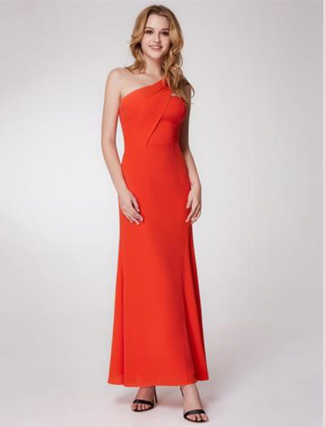 Elegant One Shoulder Long Evening Dress