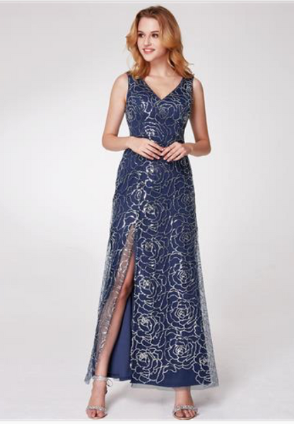 145948e0f5ef Long Navy Blue Sparkling V-Neck Sequined Floral Print Evening Dresses w/  Side Slit