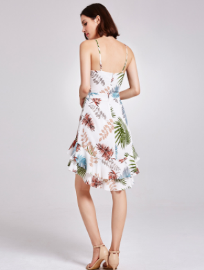 Playful Printed Casual Dress w/ adjustable Straps and Hi-Low Hem