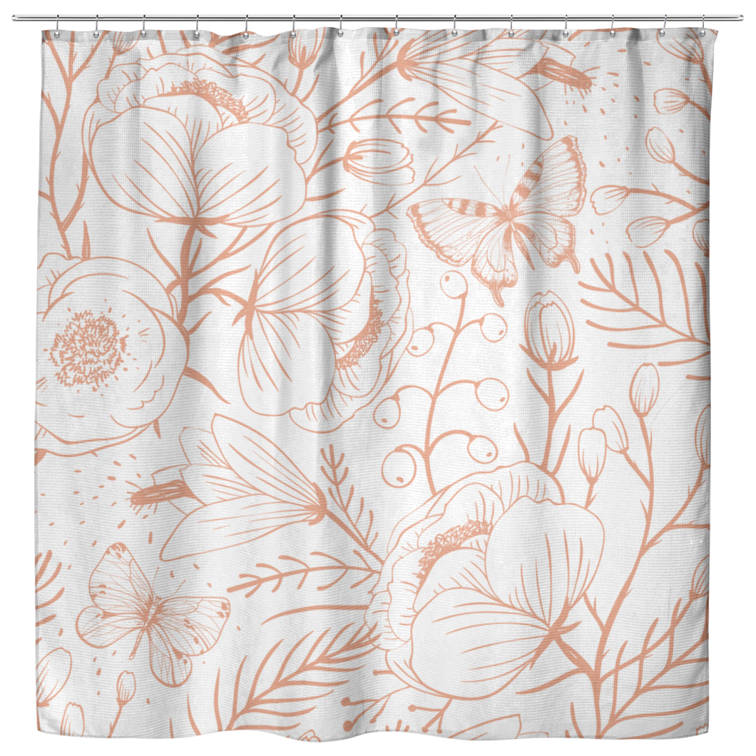 Floral Shower Curtain, Butterfly Shower Curtain, Botanical Style