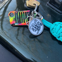 """Not All Who Wander Are Lost"" Jeep Grill Key Fob With Powder Coated Grill"
