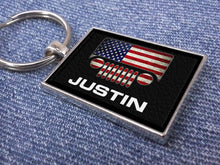PREMIUM Jeep Grill Logo Emblem Personalized Antique Silver Metal and Faux Leather Custom Keychain
