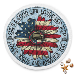 """Jeep Girl Saying"" Beach Blankets"