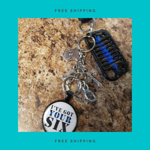 "Jeep Rear View Mirror Charms - Thin Blue Line ""I've Got your 6!!"