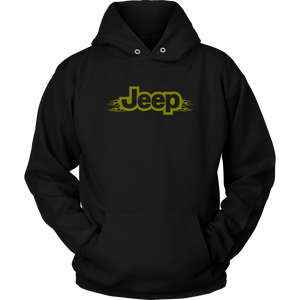 "Hoodie & Long Sleeve Tee - ""Jeep Green Army Flames"""