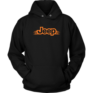 "Hoodie & Long Sleeve Tee - ""Jeep Orange Flames"""