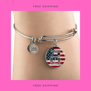 """Jeep Hair Don't Care - USA Flag"" Circle - Bangle-Bracelet Adjustable"