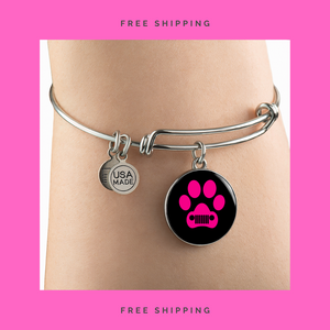 """Jeep Paw Print"" Circle - Bangle-Bracelet Adjustable"