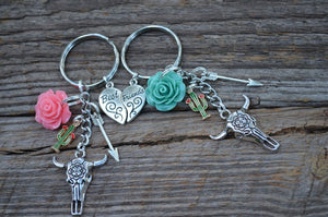 Boho Bull Skull Best Friend Keychain SET || Southwestern, Boho Keychain || Country Girl