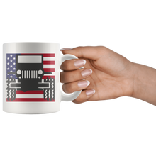 Jeep Themed Mug - Jeep With USA Flag Background