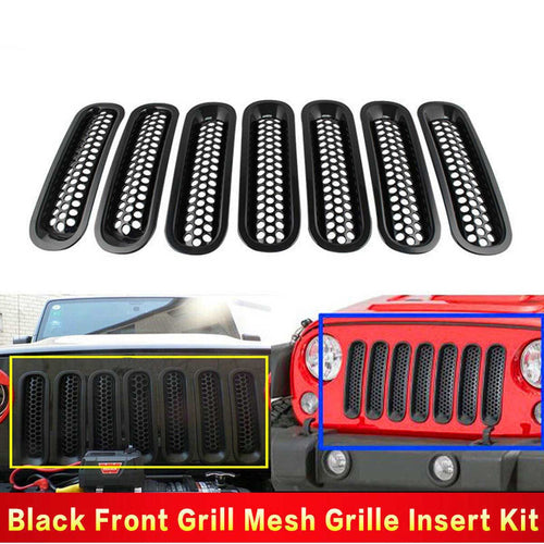 For 07-16 Jeep JK Wrangler Black Trim Front Grille Cover Insert Mesh Grill 7PCS