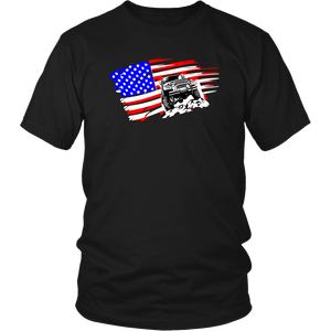 "Jeep Themed T-Shirt - ""Jeep In USA Flag"""