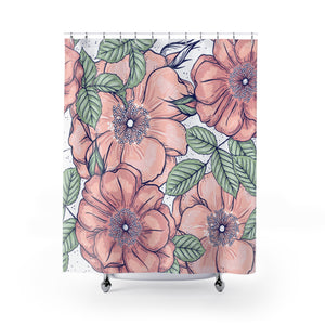 Flower Shower Curtain, Floral Shower Curtain, Rose Shower Curtain