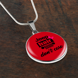 """Jeep Hair Don't Care - USA Flag"" Circle - Necklace w/Adjustable Chain"