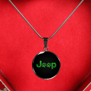 """Jeep Paw Print"" Circle - Necklace w/Adjustable Chain"