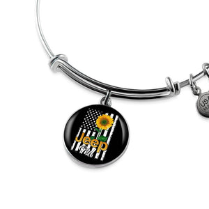 """Jeep Girl Sunflower USA Flag"" Adjustable Circle Bangle Bracelet"