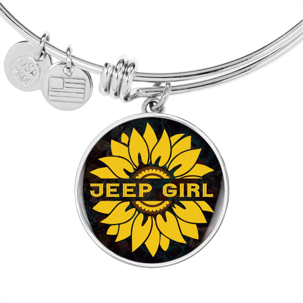 Jeep Bracelet, Jeep Girl Bracelet With Sunflower Background