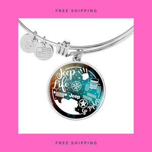 """Jeep Life"" Circle - Bangle-Bracelet Adjustable."