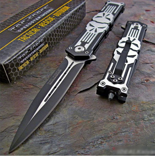 Spring Assisted PUNISHER Skull Dagger Glass Breaker Knife