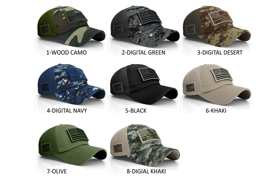 USA Flag Hat Detachable Baseball Mesh Tactical Military Army Cap ... 1e9573fa7699