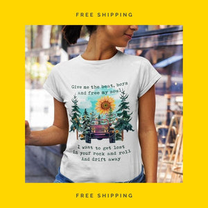 """Give Me The Beat, Boys & Free My Soul, Hippie Jeep Girl Quote"" T-Shirt & Tank Top"