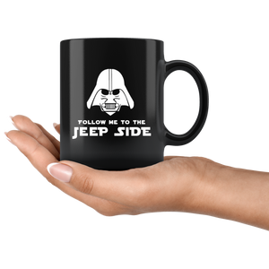"11oz. Ceramic Black Mug :  ""Follow Me To The Jeep Side"""