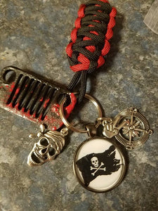 Pirate themed Jeep key fob with powder coated grill