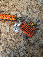 Jeep Grill Key Fob With Powder Coated Grill With Mud and Jeep Girl Tag & Jeep Wave Charm & Camo Deer Head Charm