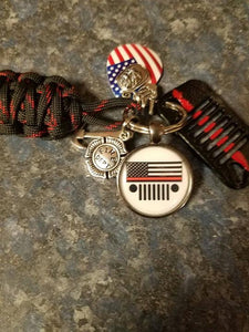 Thin Red Line Edition Jeep Grill Key Fob with powder coated grill