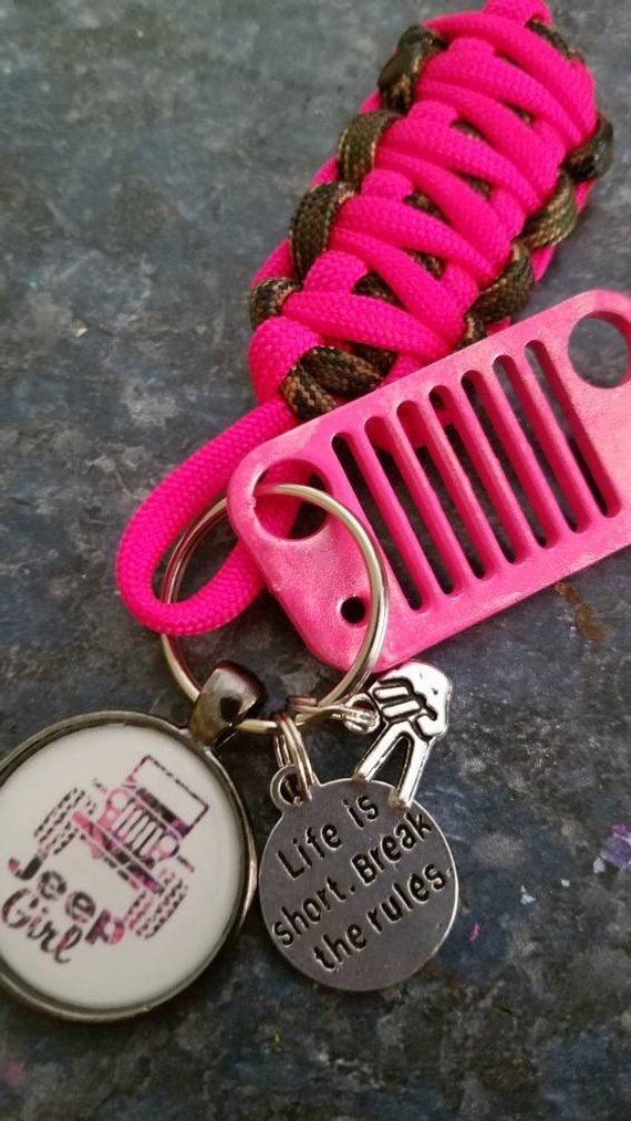 Jeep Girl Jeep Grill Key Fob with powder coated grill
