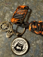 Jeep Grill Key Fob grill With paint splatter and Don't follow me tag with compass & jeep wave charm